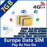 Europe Prepaid Sim Card 7GB data with 4G / LTE speed Europe holiday trip Holiday