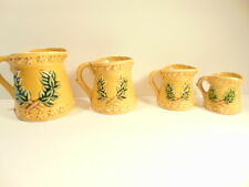 4 Chadwick ceramic pitchers  tiered sizes 1 cup, 1/2, 1/4 & 1/8th, made in Japan