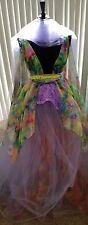 Rainbow Lavender Rosette Nymph Floral Lehenga Saree Bridal Wedding Ballgown