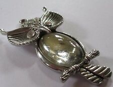 LUCITE JELLY BELLY transparent vintage OWL clear pendant silver tone VGUC