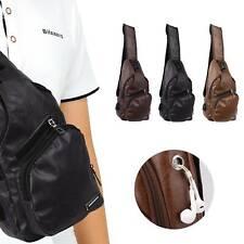 Men PU Leather Chest Pack Crossbody Messenger Vintage Travel Casual Shoulder Bag