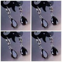 Women 925 Silver Obsidian Black Gemstone Earrings Hoop Dangle Fashion Jewelry