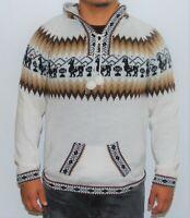 Alpaca Men Knit Hoodie Sweater Ethnic Hippie Handmade Souvenir Gift Peru