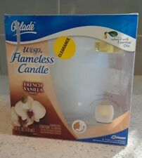 Glade Wisp Flameless Candle French Vanilla Scented Glass Holder Discontinued New