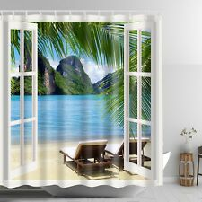 Tropical Ocean Sandy Beach Graphic Shower Curtain Sunset Scenic View Bath Decor