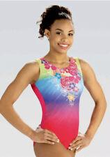 GK Elite Gymnastic Leotard DREAMY FLORAL Pink SUBLIMATED Bodysuit TANK Size: CM