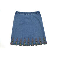 Christopher & Banks Womens Blue Embroidered Scalloped Hem Denim Skirt Size 12