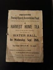 1900 Penistone (Barnsley) Church Fund poster Water Hall Harvest Home Tea