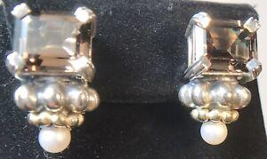 LAGOS CAVIAR 18K 750 & 925 SMOKY TOPAZ & PEARL PIERCED EARRINGS 19 G (404)