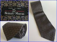 Vtg Neiman Marcus Navy Blue & Gold Framed Floral Chainlink Luxury Tie 58 ITALY