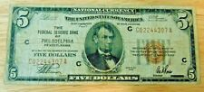 1929 $5 PHILADELPHIA PA Federal Reserve Bank Note Brown National Currency