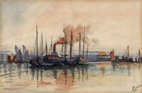 IMPRESSIONIST BOATS AT SEA Watercolour Painting - 20TH CENTURY - SIGNED