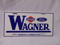 "Wagner Nissan Ford White metal license Plate 12"" x 6"" Simsbury , Connecticut"