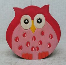 """HAND CARVED and HAND PAINTED - 10"""" WOODEN STEP STOOL / SEAT - OWL Design"""