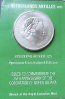1973 NETHERLANDSANTILLES 25 Gulden Uncirculated Queen JulianaSilver Coin