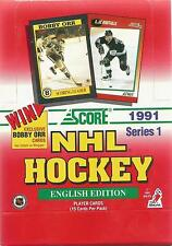 "1991 SCORE SERIES 1 NHL HOCKEY ""ENGLISH EDITION"" 36 PACK TRADING CARD BOX!"