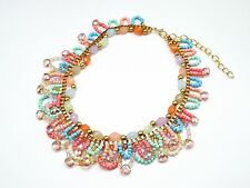 CC822 * Collier Plastron Couronne de Perles Pierres Mode Femme - Multicolore