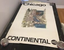 CONTINENTAL AIRLINES CHICAGO LOOP Travel Poster McMahon 1970 Linen