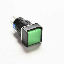 1x Green Square LED Light Latching 16mm 12V DC Push Button Self-Reset Switch SPC