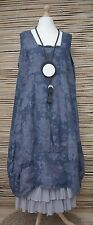 LAGENLOOK LINEN OVERSIZED FLORAL 2 POCKETS DRESS**NAVY** XL-XXL BUST 52-54