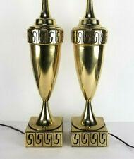 Mid Century Modern Lamps Brass Greek Key Pair Urn Set Stiffel Vintage