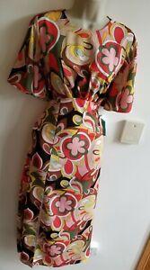 Stunning John Zack @ Silkfred Size 12 Flower Power Slit Front Midax Dress Tea