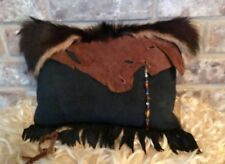 """SMALL BLACK AND BROWN SUEDE PILLOW W/SPANISH GOAT HIDE/FUR12"""" X 9"""""""