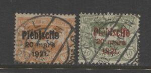 1921 German Plebiscite UPPER SILESIA  30 & 40 Pf. with overprint used, $ 60.00