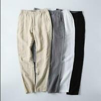 Mens Casual Elastic Waist Cotton Linen Pants Trousers Casual Fit Outdor sz M-5XL