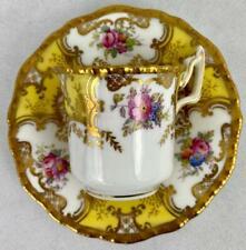 Yellow Antique Coalport Batwing #2665~Cup & Saucer~Gold Gilt~1891~Demitasse