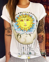 Boho Women's Cotton T-Shirt Cartoon Casual Summer Short Sleeve Blouse Tops Basic