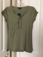 Womens Lauren Ralph Lauren Spring Sage Cap Sleeve Ribbed Lace Up Top Sz M