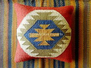 18X18 Jute Kilim Cushion Cover Hand Woven Throw Pillows Boho Sham Indian Cushion
