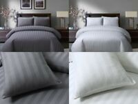 Sleepdown SATIN STRIPE Polycotton Reversible Duvet Cover Set with Pillowcases