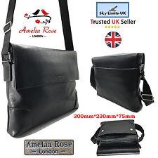 Neuf large noir de voyage sac en cuir bandoulière hommes femmes messenger épaule unisexe