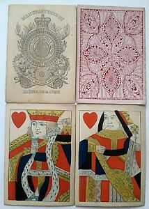 ANTIQUE PLAYING CARDS REYNOLDS SQUARE 1865 STANDING COURTS UNTURNED PIPS HANDCUT