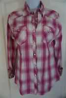 Rock & Roll Cowgirl Western Shirt Pink and White Plaid Pearl Snap Size M