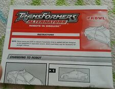 Transformers ALTERNATORS PROWL INSTRUCTION BOOKLET  AUTHENTIC