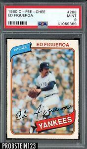 1980 O-PEE-CHEE OPC #288 Ed Figueroa New York Yankees PSA 9 MINT