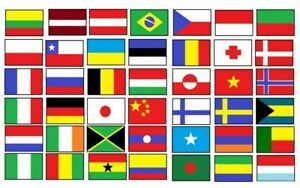 """World Country Flag Iron On Patches 0.8"""" x 1.2"""" Size Embroidered Applique Cloth"""
