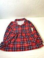 Little Lass Girls Dress Sz 3T Red Sparkles Plaid Stripe Button