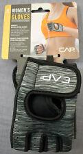 CAP Womens Gray Adj Wrist Closure Padded Palms Weightlifting Gloves NWT M Medium