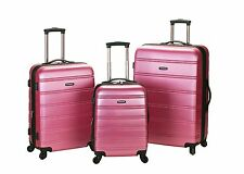 Melbourne 3 Piece Hard Luggage Set ABS - Pink New