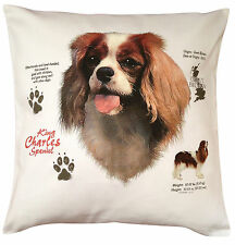 More details for king charles spaniel history breed of dog cotton cushion cover - perfect gift