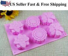 Flower Shaped Silicone DIY Handmade Soap Mold Muffin Cup Cake ~US Seller