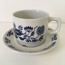 Vintage Figgjo Norway Coffee Tea Cup & Saucer White with Blue Flowers #3557