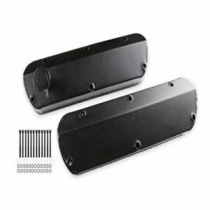 Mr. Gasket 6846BG Fabricated Aluminum Valve Covers, Tapered Edge, Black NEW