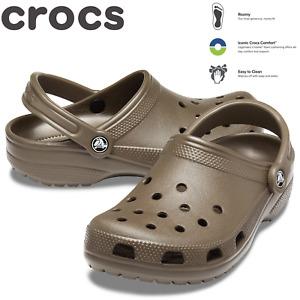Crocs Adult Classic Clogs Shoes Sandals Slides Roomy Fit - Chocolate