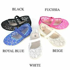 New Girls Baby Infant Lace Crochet Ballet Comfy Slip On Loafers Ballerina Flats
