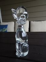 "Vintage Murano Art Glass DOG Sculpture Figurine Clear Mid Century Italian 7"" Tal"